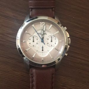 Fossil Chronograph Brown Leather Watch